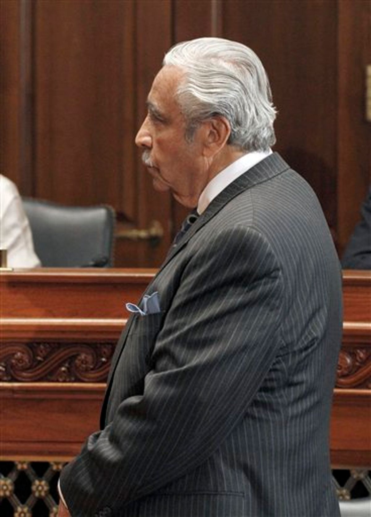 Rep. Charles Rangel, D-N.Y., listens to House ethics committee chairman Rep. Zoe Lofgren, D-Calif, on Capitol Hill in Washington, Thursday, Nov. 18, 2010. The committee recommended censure for Rangel, suggesting that the New York Democrat suffer the embarrassment of standing before his colleagues while receiving an oral rebuke by the speaker for financial and fundraising misconduct. (AP Photo/Harry Hamburg) (AP)