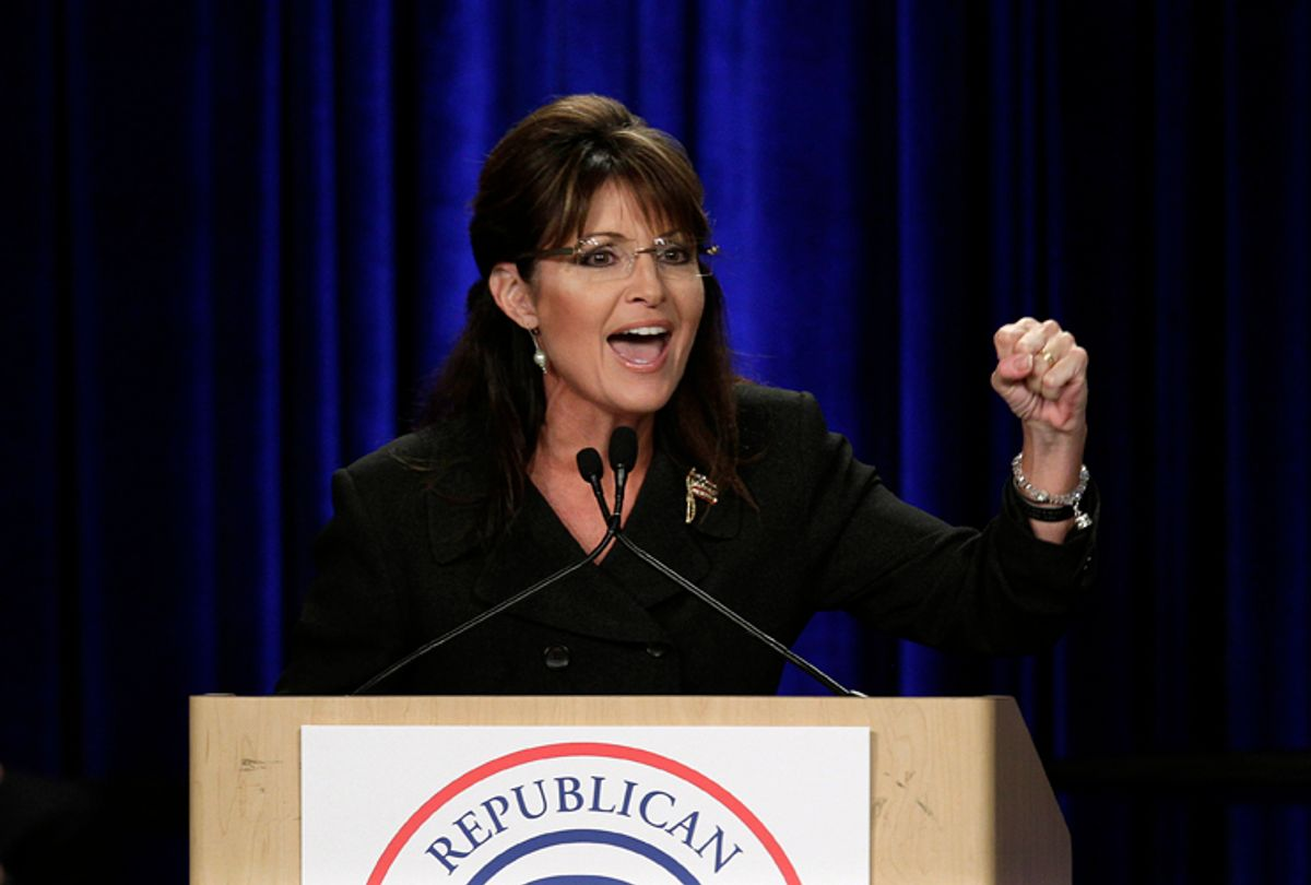 Former Alaska Gov. Sarah Palin speaks during a rally in Anaheim, Calif., Saturday, Oct. 16, 2010.  (AP Photo/Jae C. Hong) (Jae C. Hong)