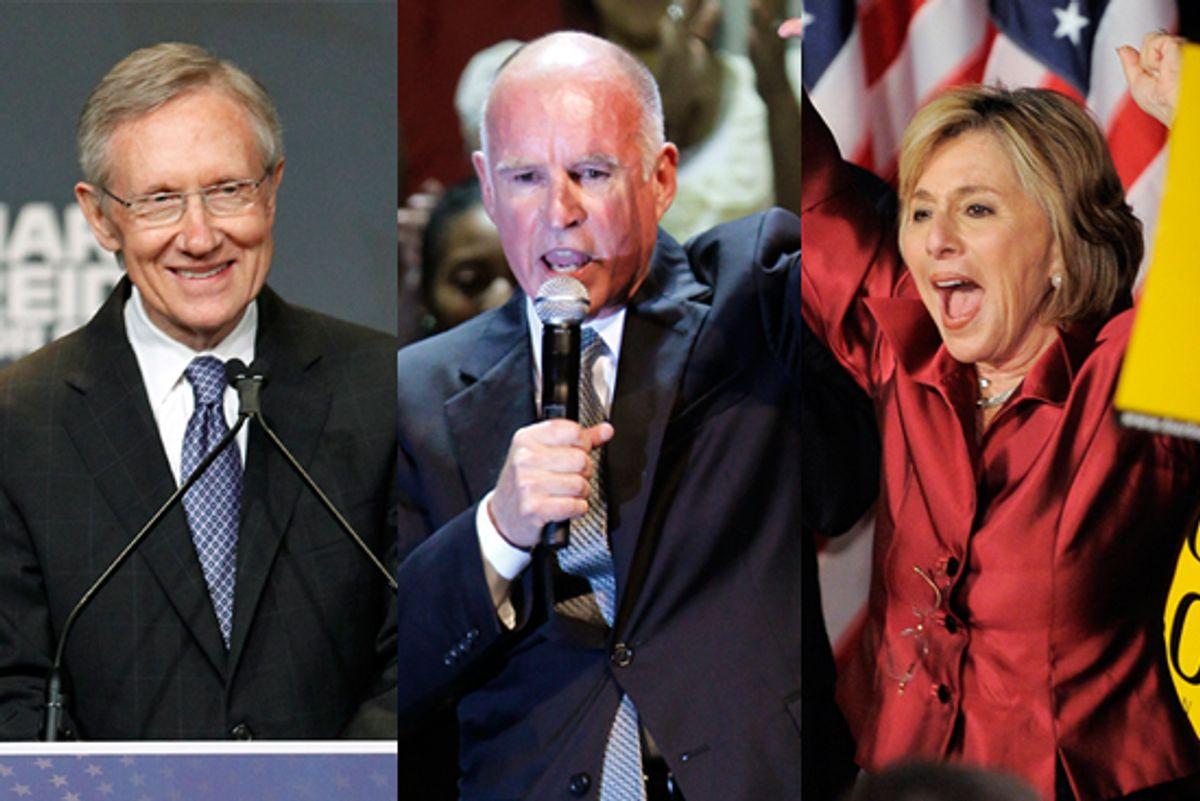 Sen. Harry Reid, Jerry Brown and Sen. Barbara Boxer