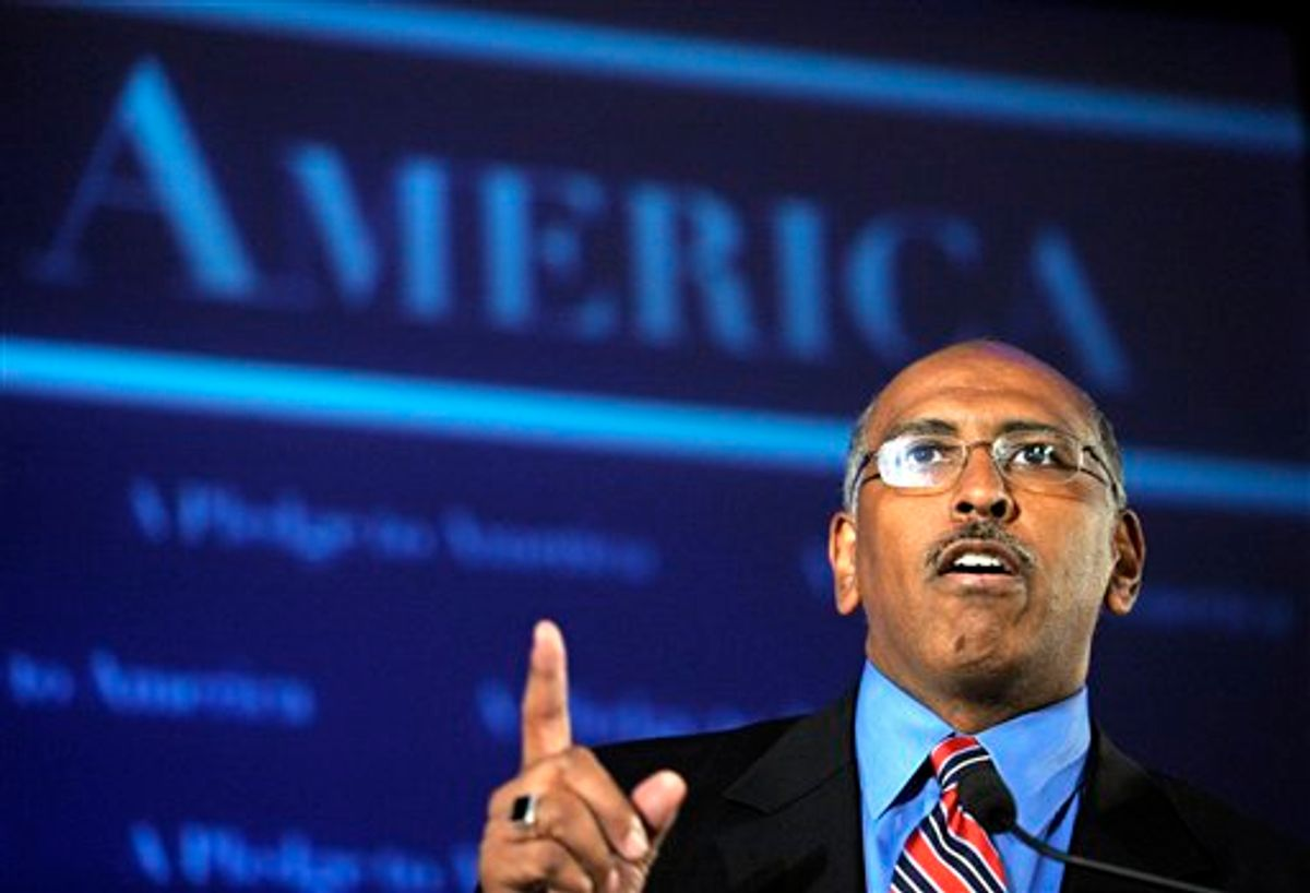 FILE - In this Nov. 2, 2010 file photo, Republican National Committee Chairman Michael Steele speaks during an election night gathering hosted by the National Republican Congressional Committee, in Washington. GOP activists are making an aggressive push to recruit a challenger to Steele, whose tenure as the central party's chief has been pocked with controversy and has been a period that some leaders are eager to put behind them. (AP Photo/Cliff Owen) (AP)