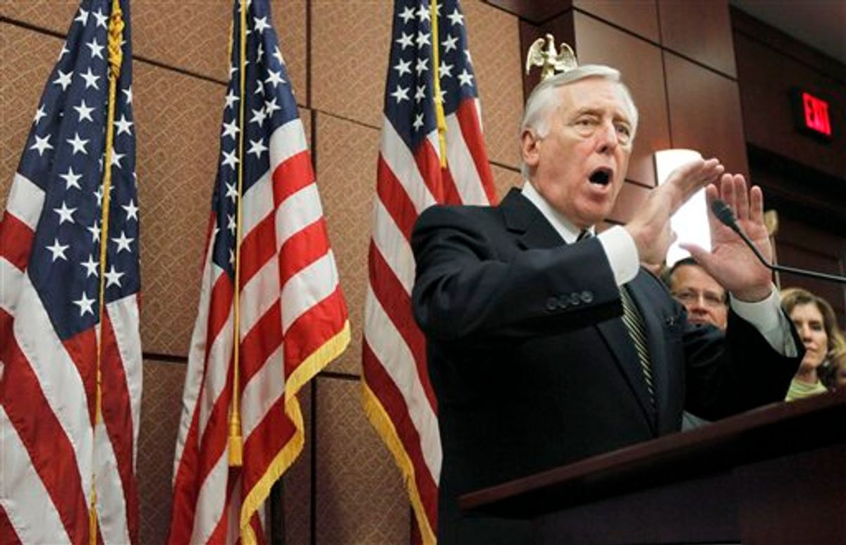 House Majority Leader Steny Hoyer of Md., gestures during a news conference,on Capitol Hill in Washington, Thursday, Sept. 23, 2010, in support of the small business lending to struggling small businesses with easier credit and other incentives to expand and hire new workers. (AP Photo/Manuel Balce Ceneta) (AP)