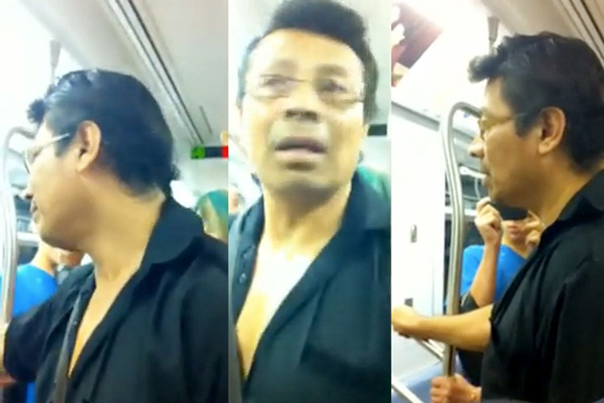 Stills from a video of a woman confronting a subway flasher