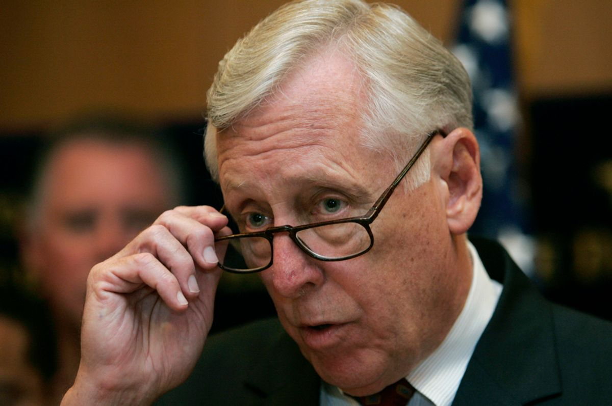 U.S. House Majority Leader Steny Hoyer (D-MD) attends a news conference in Jerusalem August 14, 2007. REUTERS/Eliana Aponte (JERUSALEM) (© Eliana Aponte / Reuters)
