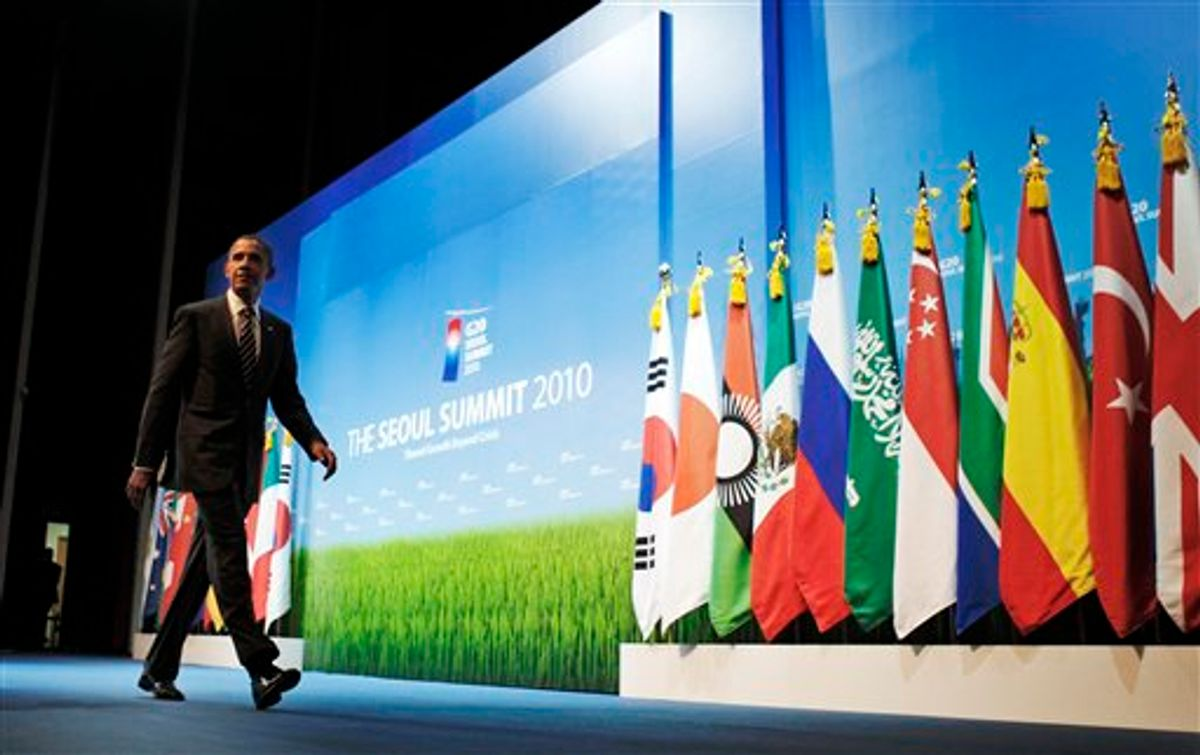 President Barack Obama leaves the stage after a news conference at the G-20 summit in Seoul, South Korea, Friday, Nov. 12, 2010. (AP Photo/Charles Dharapak) (AP)