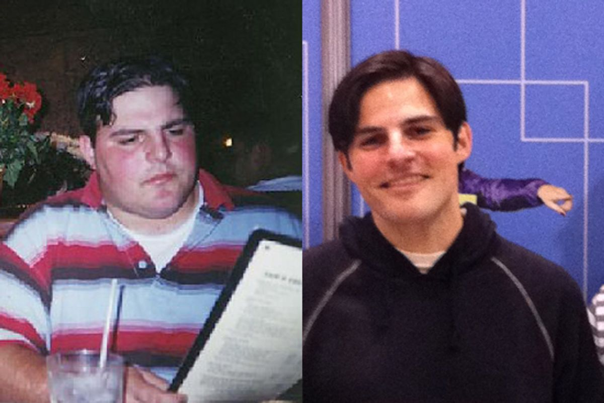 Joe Berkowitz, before losing weight (left) and at the New York Marathon Expo the Friday before the race.