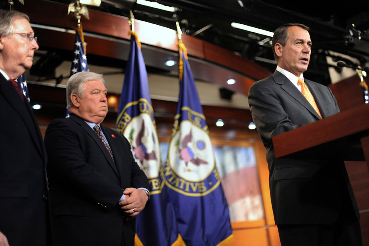 U.S. House Republican Leader John Boehner (R-OH) (R), Senate Minority Leader Mitch McConnell (R-KY) (L) and Mississippi Governor Haley Barbour (R-MS) (2nd L) address reporters at a news conference after sweeping Republican gains in midterm elections, at the U.S. Capitol in Washington, November 3, 2010. REUTERS/Jonathan Ernst  (UNITED STATES - Tags: POLITICS ELECTIONS)                    (© Jonathan Ernst / Reuters)