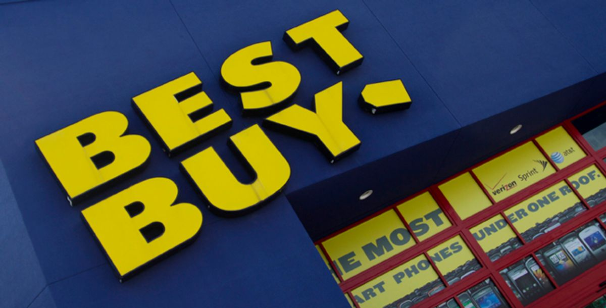The Best Buy logo is displayed on a store in Miami, Fla. Best Buy says fiscal second-quarter net income rose 60 percent as shoppers bought cell phones, appliances and tablet computers. (AP Photo/J Pat Carter)  (J Pat Carter)