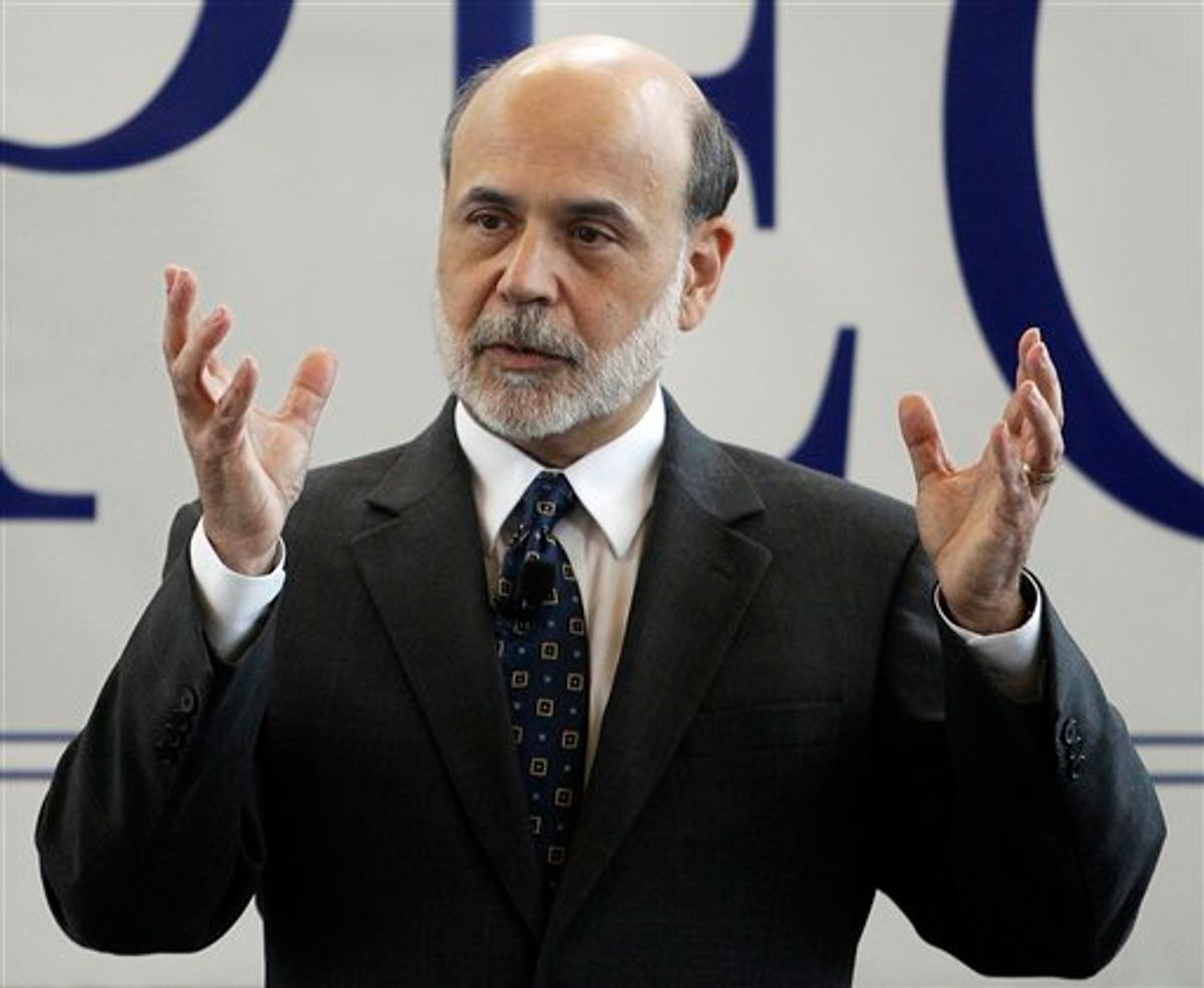 Federal Reserve Chairman Ben Bernanke responds to a question during a question-and-answer hour with invited students from various Rhode Island colleges and universities in Providence, R.I., Monday, Oct. 4, 2010. (AP Photo/Stephan Savoia) (AP)