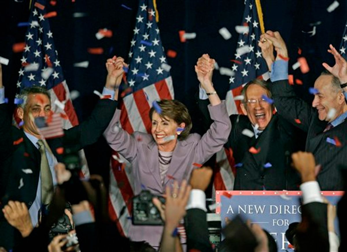 """FILE - In this Nov. 7, 2006, file photo, Rep. Nancy Pelosi, D-Calif., center, celebrates with fellow Democrats at an election-night rally in Washington. At left, chairman of the House Democratic Congressional Campaign Committee Rep. Rahm Emanuel, D-Ill., and from right, chairman of the Democratic Senatorial Campaign Committee Sen. Charles Schumer, D-N.Y., and Senate Democratic Leader Sen. Harry Reid, D-Nev. Pelosi promised four years ago that Democrats would lead """"the most honest, most open, most ethical Congress in history."""" As her party defends its record with its majority in jeopardy, it's clear she's fallen short. (AP Photo/J. Scott Applewhite, File)    (AP)"""