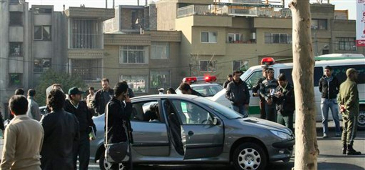 This photo released by Fars News Agency is claimed by them to show one of the damaged cars following bomb attacks on the vehicles of two nuclear scientists in Tehran, Iran, Monday, Nov. 29, 2010. Assailants on motorcycles attached bombs to the two cars of two nuclear scientists as they were driving to work in Tehran on Monday, killing one and seriously wounding the other, state television reported. (AP Photo/Fars News Agency)  (AP)