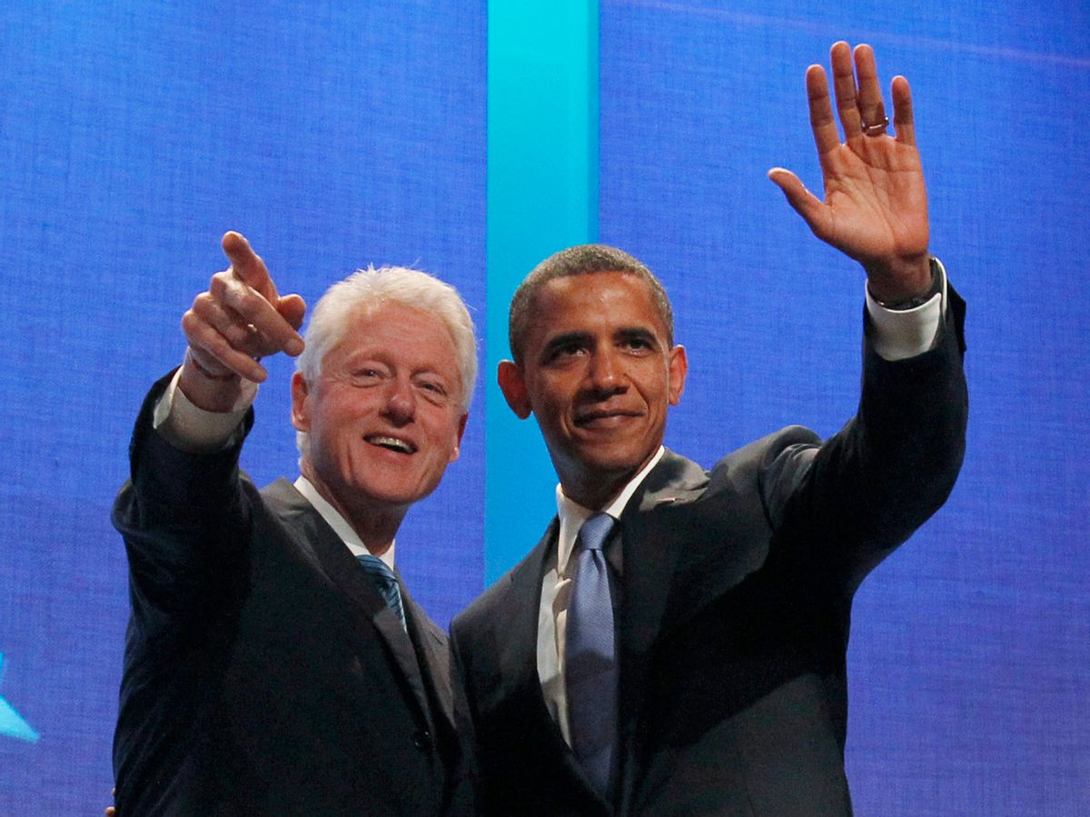 U.S. President Barack Obama (R) waves to the audience alongside former U.S. President Bill Clinton at the Clinton Global Initiative in New York, September 23, 2010.    REUTERS/Jason Reed  (UNITED STATES - Tags: POLITICS)  (Reuters)