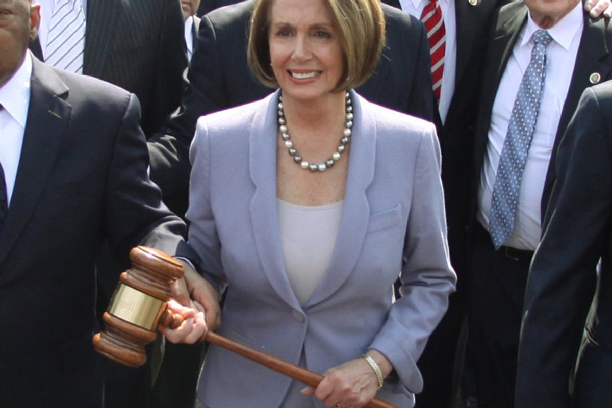 House Speaker Nancy Pelosi, D-Calif., on the way to the U.S. Capitol before Congress voted on health care reform legislation in March.