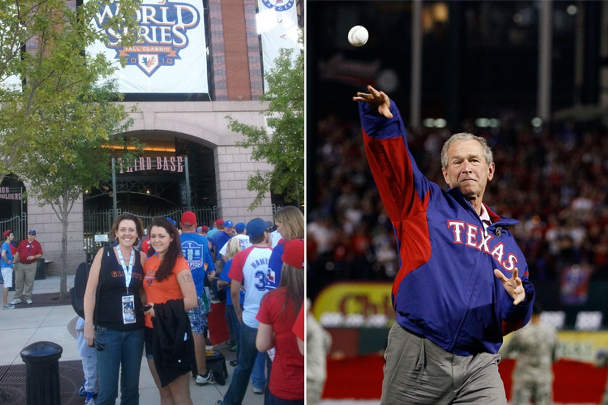 Left: Salon editor Joan Walsh with her daughter, Nora, in Arlington, Texas; right: George W. Bush throws out the first ball in Game 4 of the World Series.