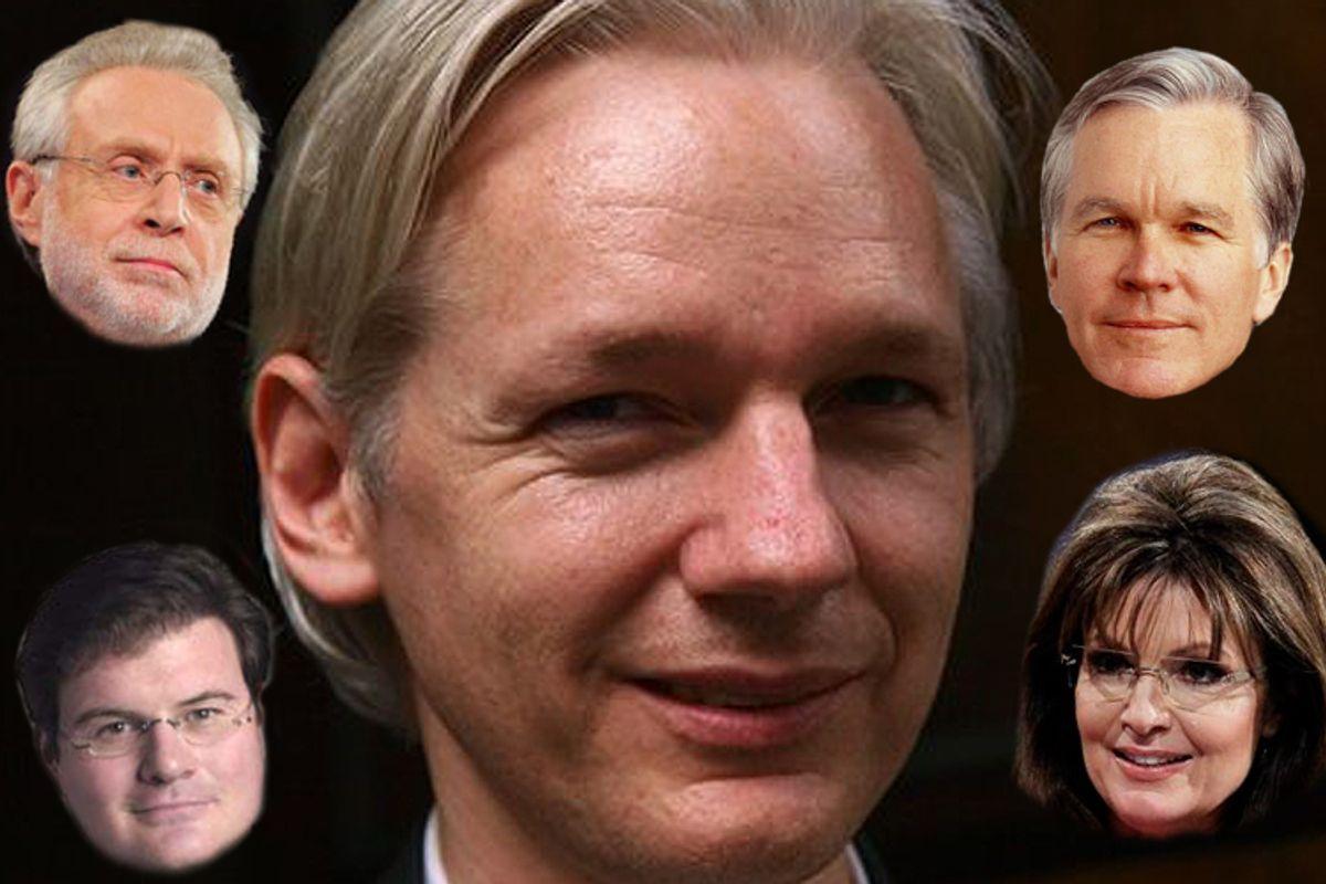 Clockwise from lower left: Jonah Goldberg, Wolf Blitzer, Julian Assange, Bill Keller and Sarah Palin