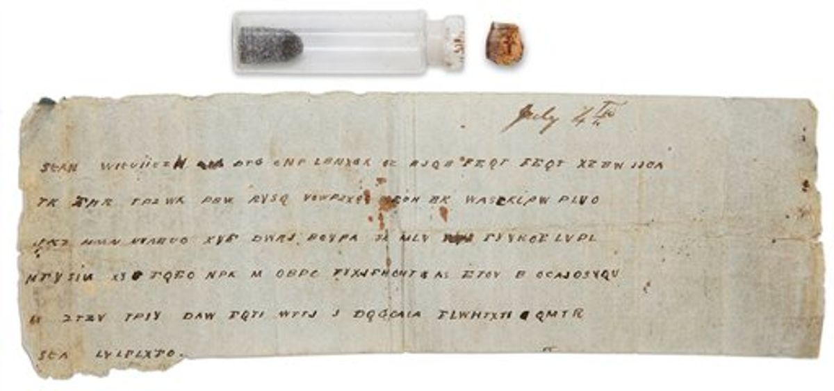 In this Jan. 14, 2009 image shows a Civil War bottle with a message that was tucked inside at the Museum of the Confederacy in Richmond, Va. The message to Lt. Gen. John C. Pemberton says reinforcements will not be arriving. The encrypted dispatch was dated July 4, 1863 _ the date of Pemberton's surrender to Union forces led by Ulysses S. Grant in what historians say was a turning point in the war. (AP Photo/Museum of the Confederacy)  (AP)