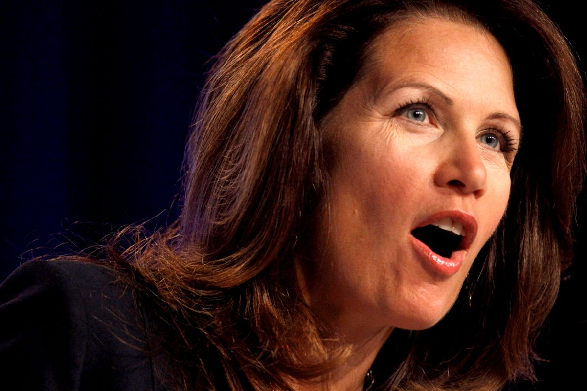 Rep. Michele Bachmann, R-Minn., speaks to the Values Voter Summit, held by the Family Research Council Action, Friday, Sept. 17, 2010, in Washington. (AP Photo/Jacquelyn Martin) (Jacquelyn Martin)