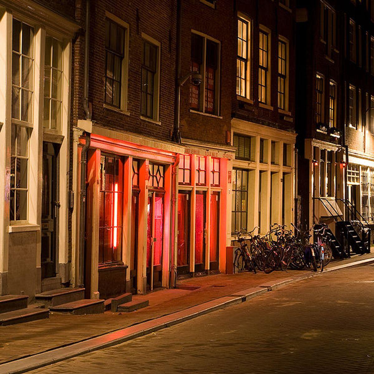 A quiet night in Amersterdam's red light district.