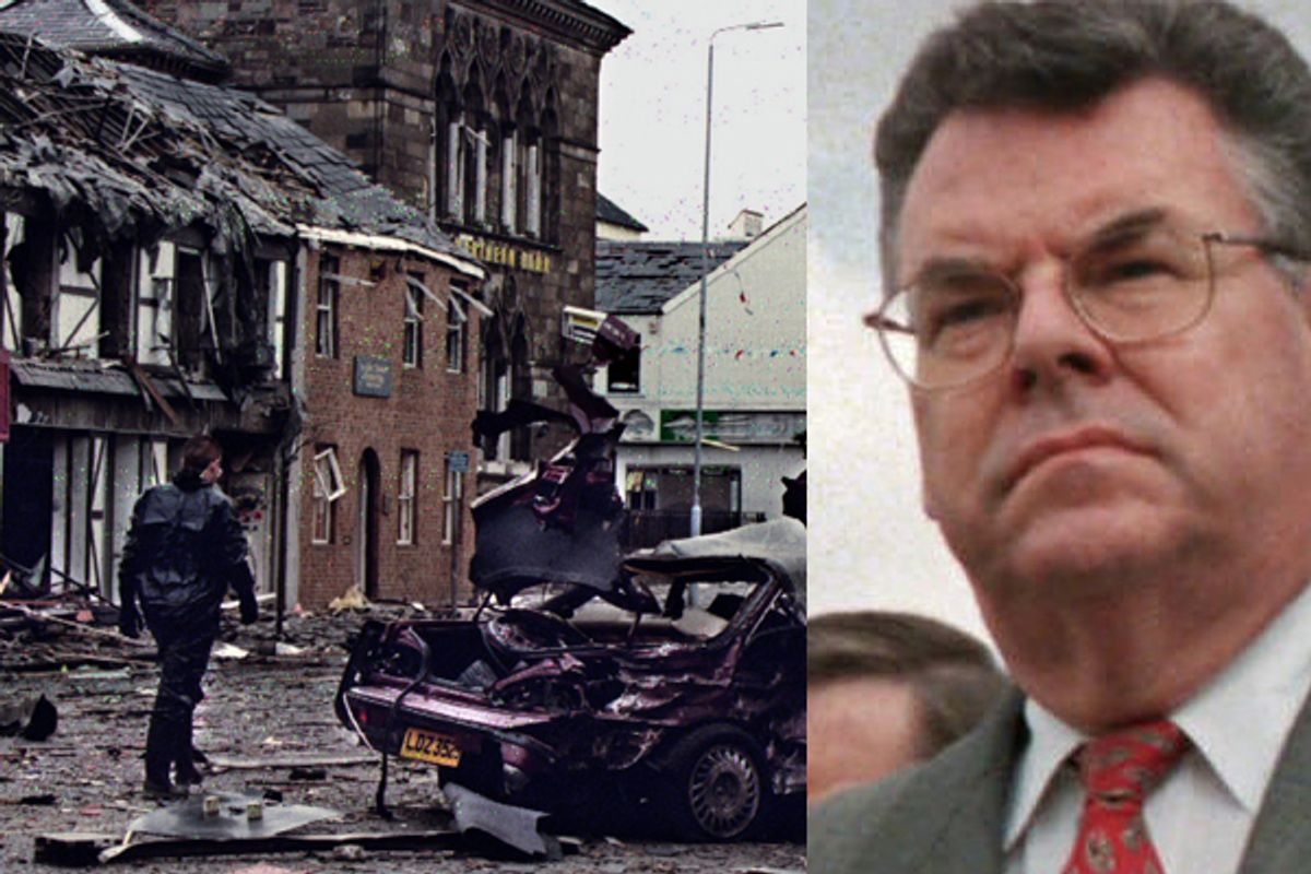 A police investigator walks past the wreckage of a 1993 IRA bombing that injured 14 civilians and five policemen. Right: Rep. Peter King on Capitol Hill Sept. 14, 1999.