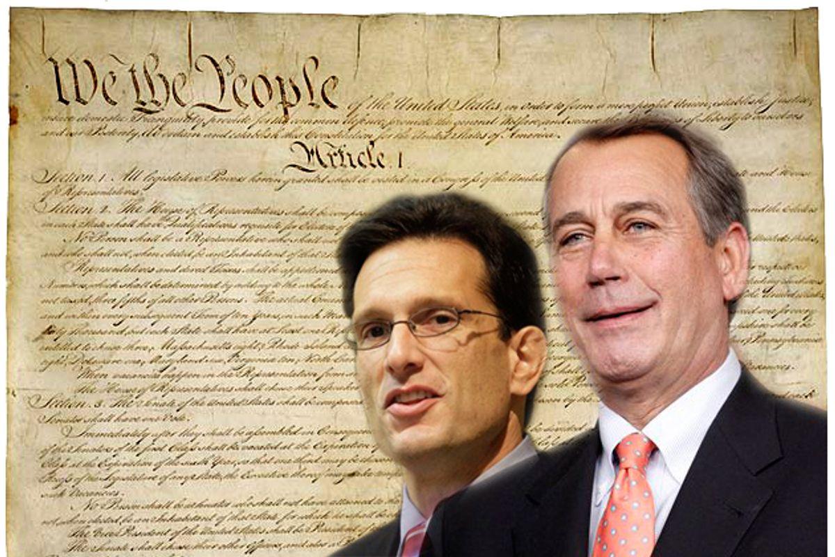 House Majority Leader Eric Cantor and House Speaker John Boehner