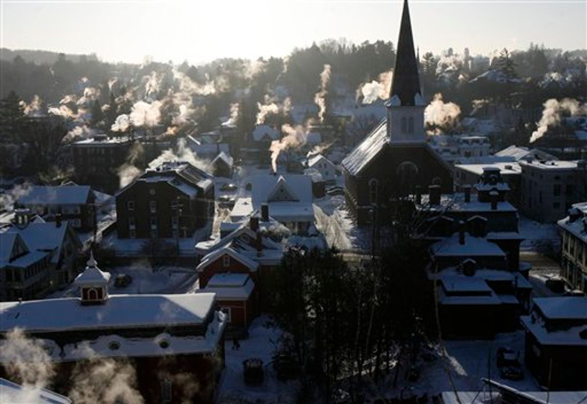 Steam rises from chimneys on Monday, Jan. 24, 2011 in Montpelier, Vt. Bone-chilling cold has prompted schools around the Northeast to delay openings and some canceled classes altogether on Monday. (AP Photo/Toby Talbot)  (AP)