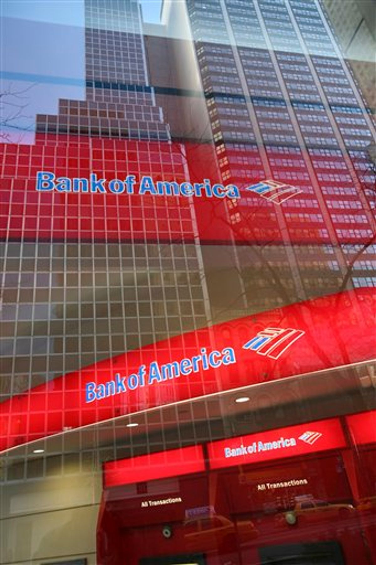 """FILE - In this Jan. 25, 2009 file photo, a Bank of America branch office is shown in New York. Bank of America, Citi, Wells Fargo Bank, JPMorgan Chase and other  banks got together in 1997 and formed a private company called Mortgage Electronic Registry Systems Inc., or MERS. Its motto: """"Process loans, not paperwork.""""(AP Photo/Mark Lennihan, file)  (AP)"""
