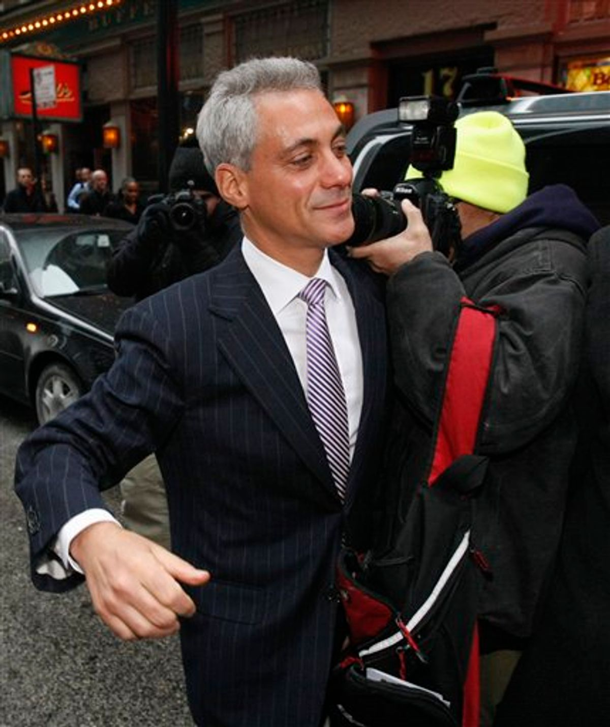Former White House Chief of Staff Rahm Emanuel leaves a news conference in Chicago, Monday, Jan. 24, 2011, where he responded to an Illinois appeals court ruling that threw him off the ballot for Chicago mayor because he didn't live in the city in the year before the election. The court voted 2-1 to overturn a lower-court ruling that would have kept Emanuel's name on the Feb. 22 ballot. (AP Photo/Charles Rex Arbogast) (AP)
