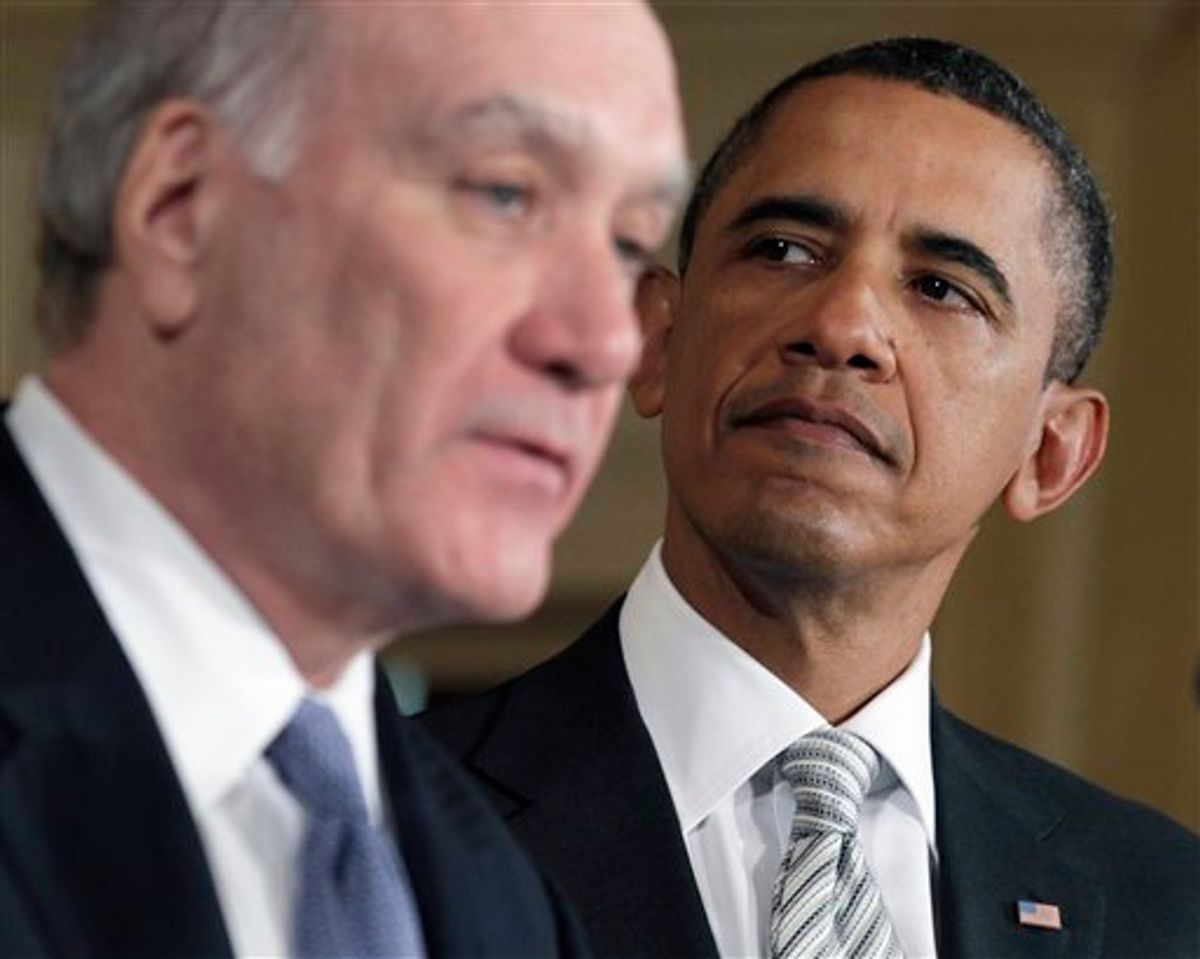 President Barack Obama listens as his new White House Chief of Staff William Daley makes a statement in the East Room of the White House, Thursday, Jan. 6, 2011 in Washington. (AP Photo/Carolyn Kaster) (AP)