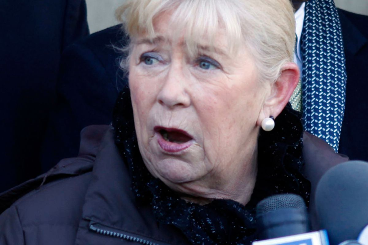 Rep. Carolyn McCarthy speaks during a news conference about gun control in New York on Monday.