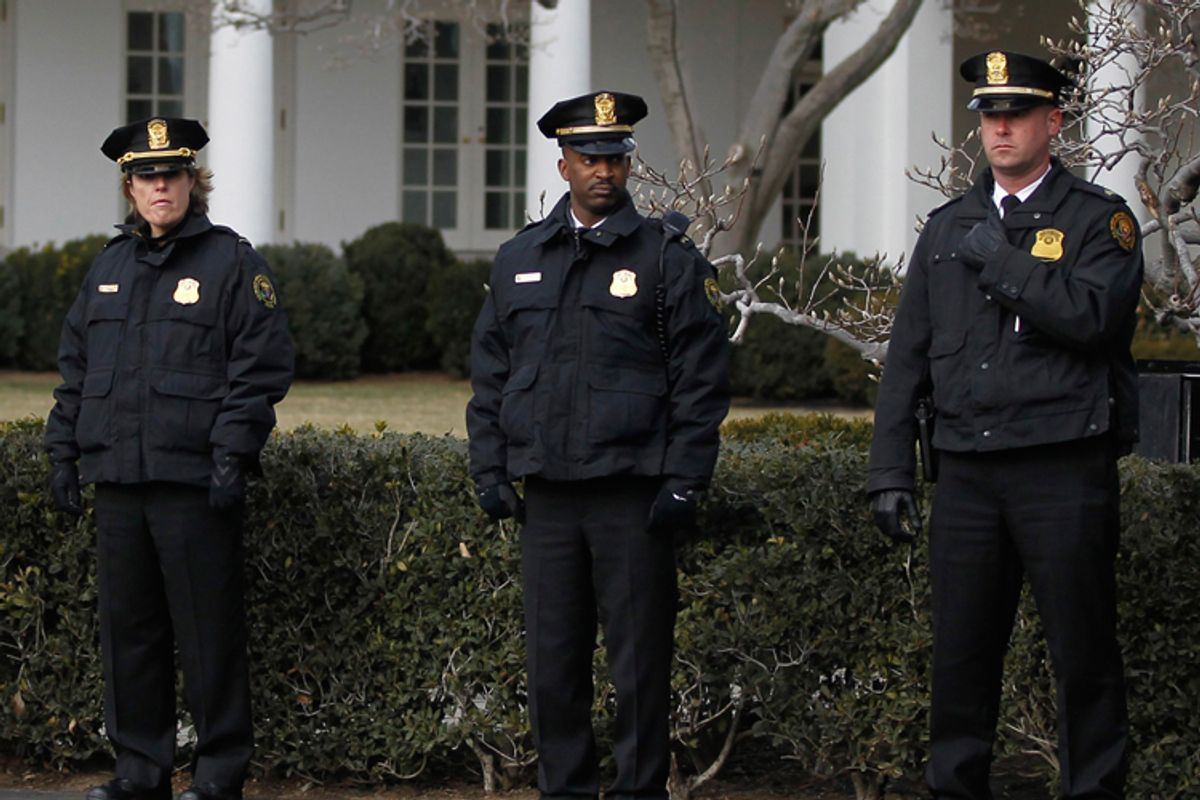 Uniformed Secret Service members in Washington during a moment of silence for the Arizona shooting victims.