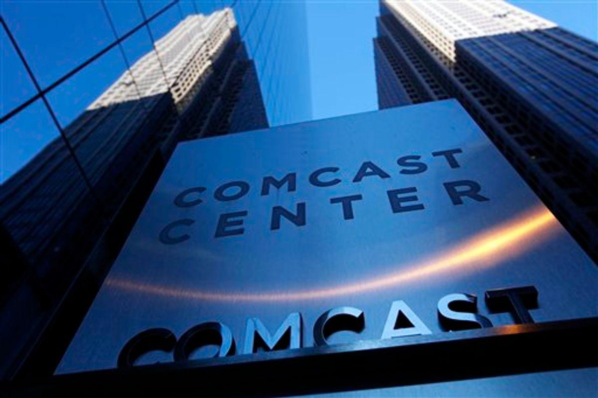 A sign outside the Comcast Center in Philadelphia.             (AP/Matt Rourke)