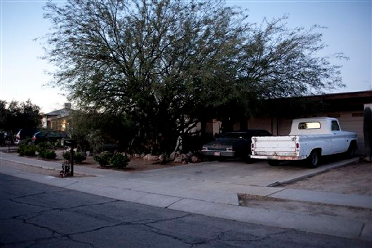 """The home of Jared Loughner, at 7741 N Soledad Ave., Sunday, Jan. 9, 2011 in Tucson, Az. Loughner is accused of attempting to assassinate Rep. Gabrielle Giffords and killing six other people Saturday, Jan. 8, 2011 during a """"Congress on your Corner"""" event at a mall in Tucson, Az.  (AP Photo/The Arizona Republic, Mark Henle) (AP)"""