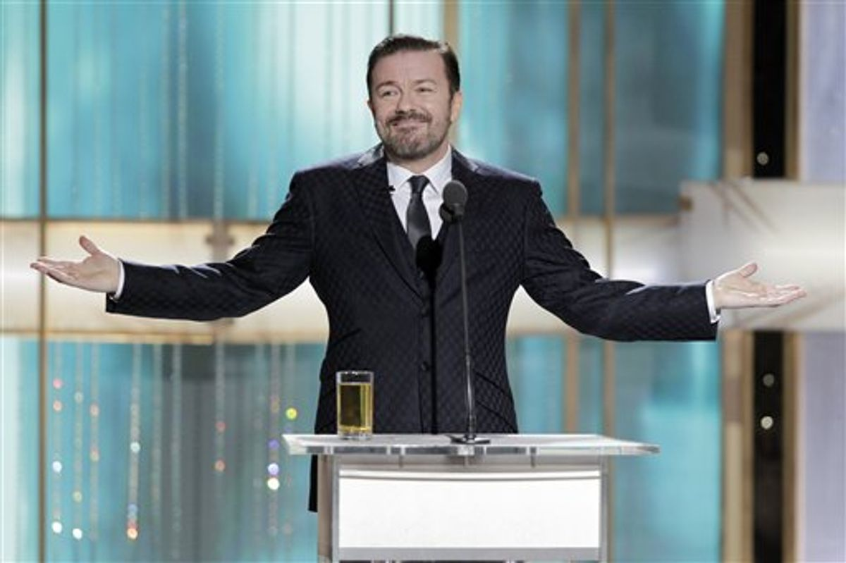 In this publicity image released by NBC, host Ricky Gervais is shown during the 68th Annual Golden Globe Awards, Sunday, Jan. 16, 2011 in Beverly Hills, Calif. (AP Photo/NBC, Paul Drinkwater) (AP)