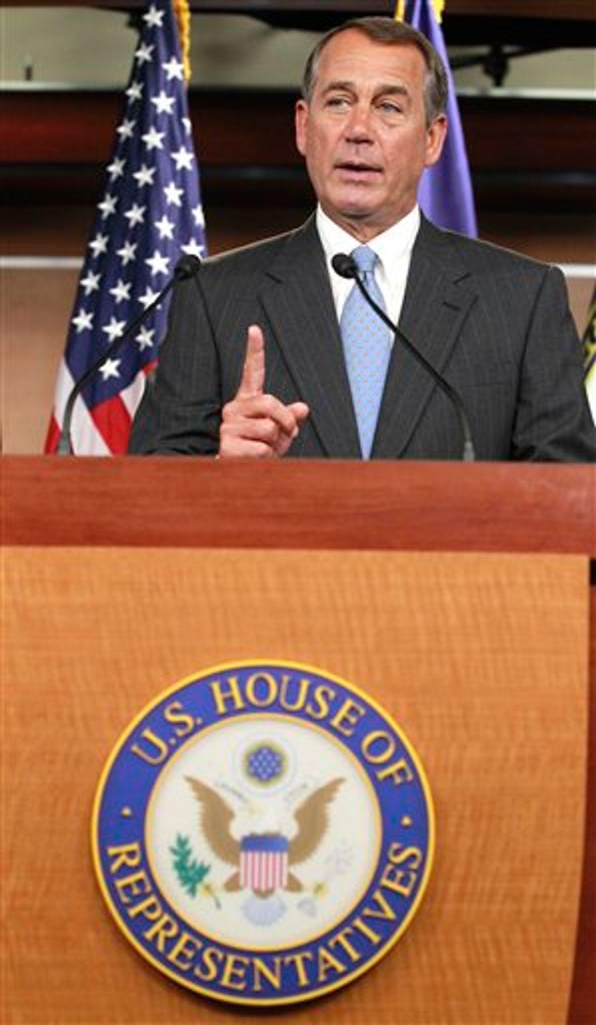 House Speaker John Boehner of Ohio, speaks to the media on Capitol Hill in Washington, Thursday, Jan. 6, 2011. (AP Photo/Alex Brandon) (AP)