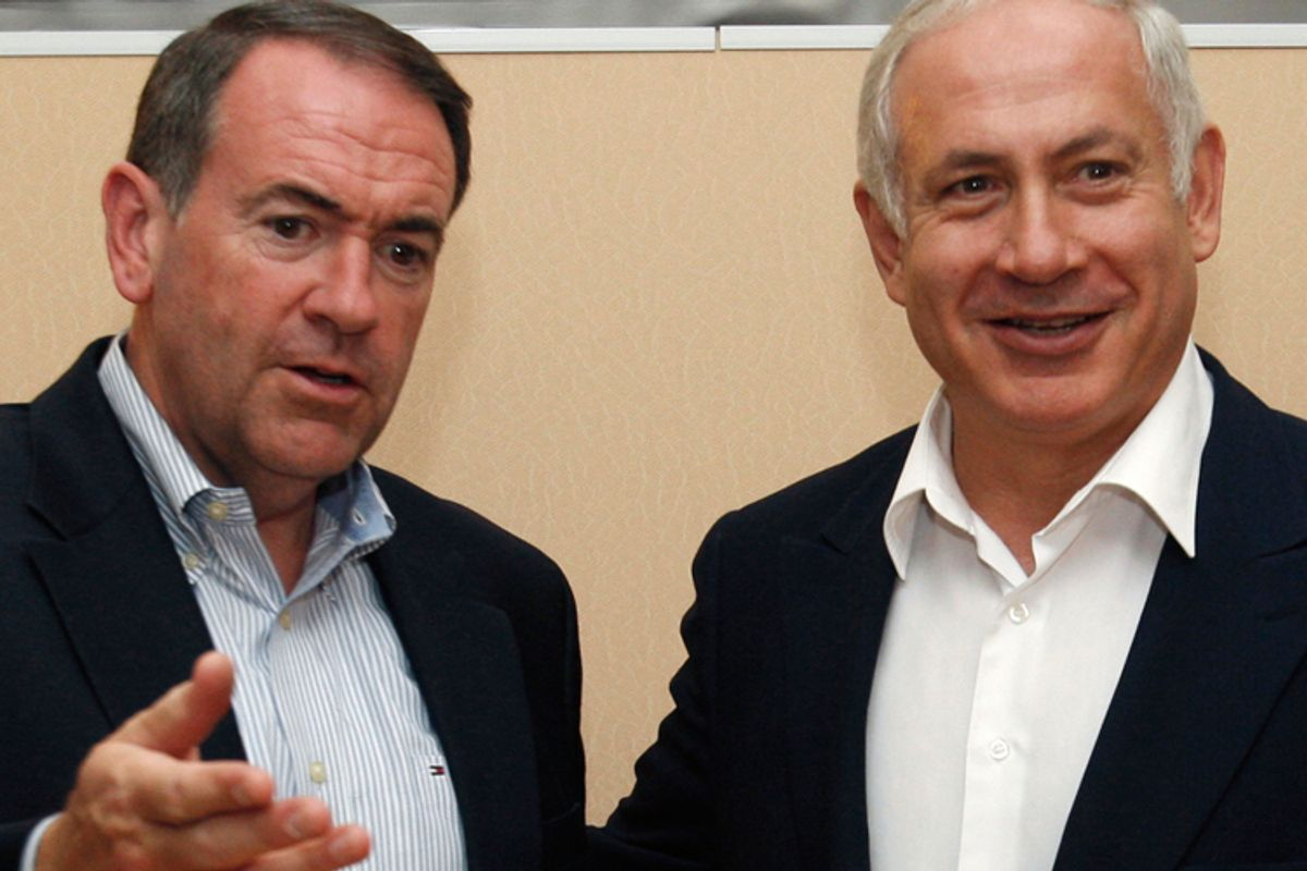 Mike Huckabee and Benjamin Netanyahu in Tel Aviv in 2008.