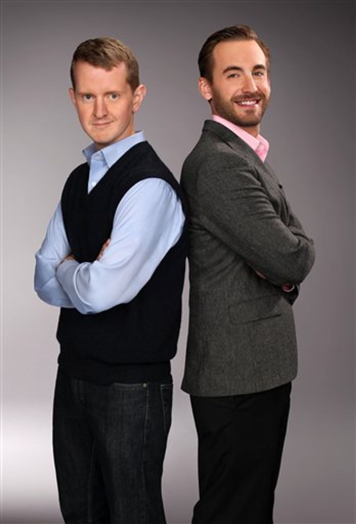 """In this undated publicity image released by Jeopardy!, Ken Jennings, left, and Brad Rutter, two of the most successful contestants on the game show """"Jeopardy!,"""" are shown. Jennings and Rutter two of the venerable game show's most successful champions, will play two games against """"Watson,"""" a computer program developed by IBM's artificial intelligence team. The matches will be spread over three days that will air Feb. 14-16, the game show said on Tuesday, Dec. 14, 2010. (AP Photo/Jeopardy!, Charles William Bush) (AP)"""