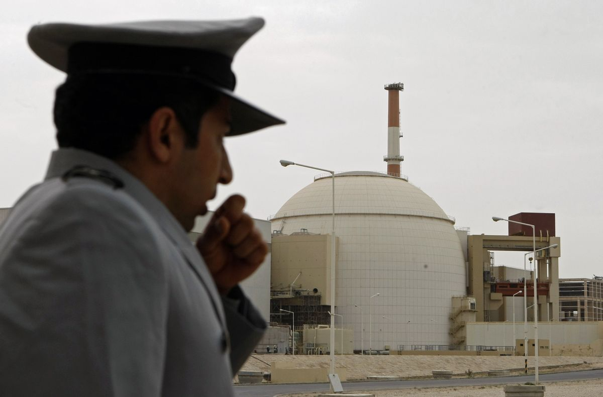 A guard outside a nuclear reactor in Bushehr, Iran. The nuclear power plant was built in cooperation with Russia.  (Behrouz Mehri)