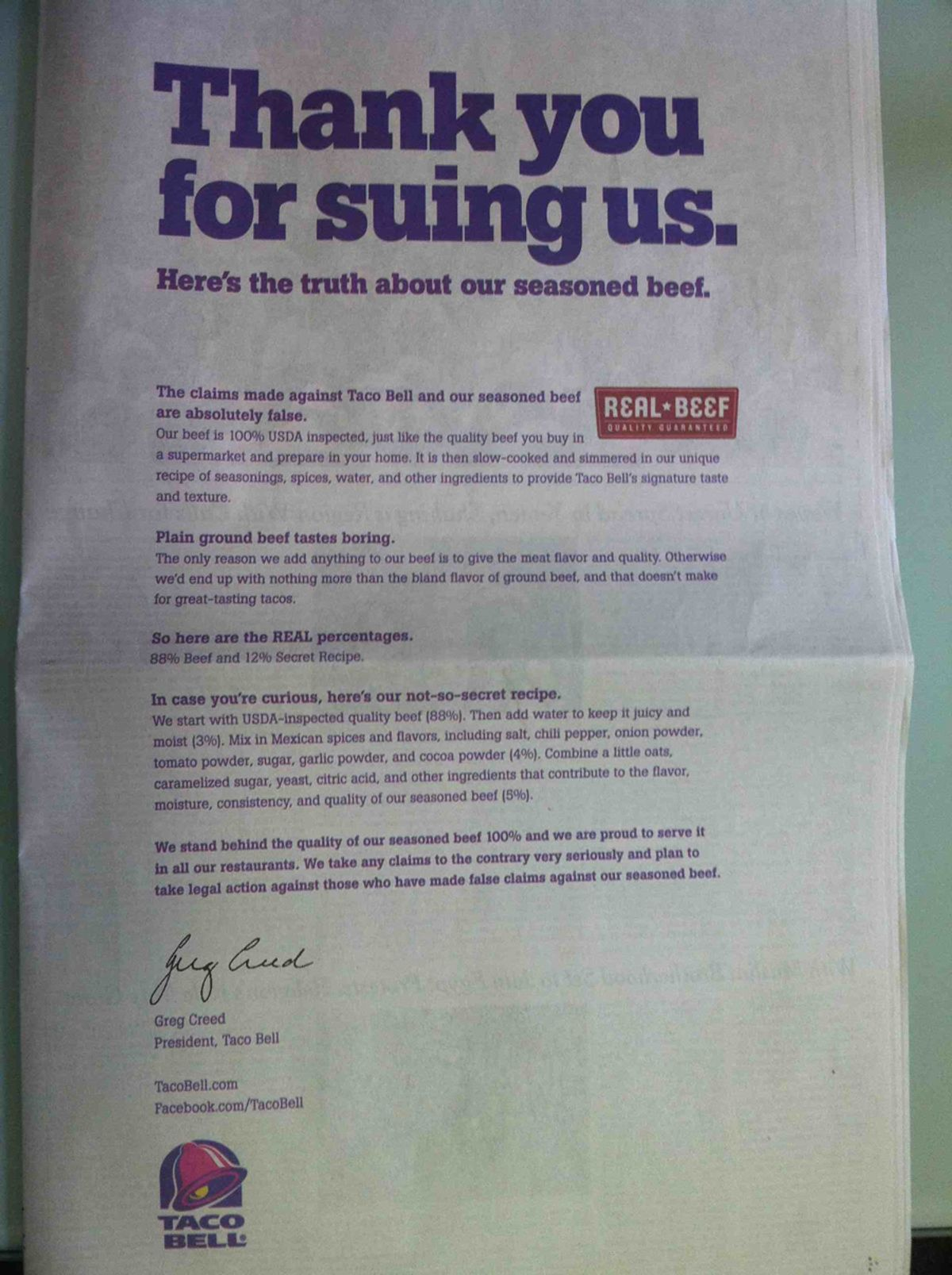 Full-page Taco Bell ad in Friday's edition of The New York  Times.