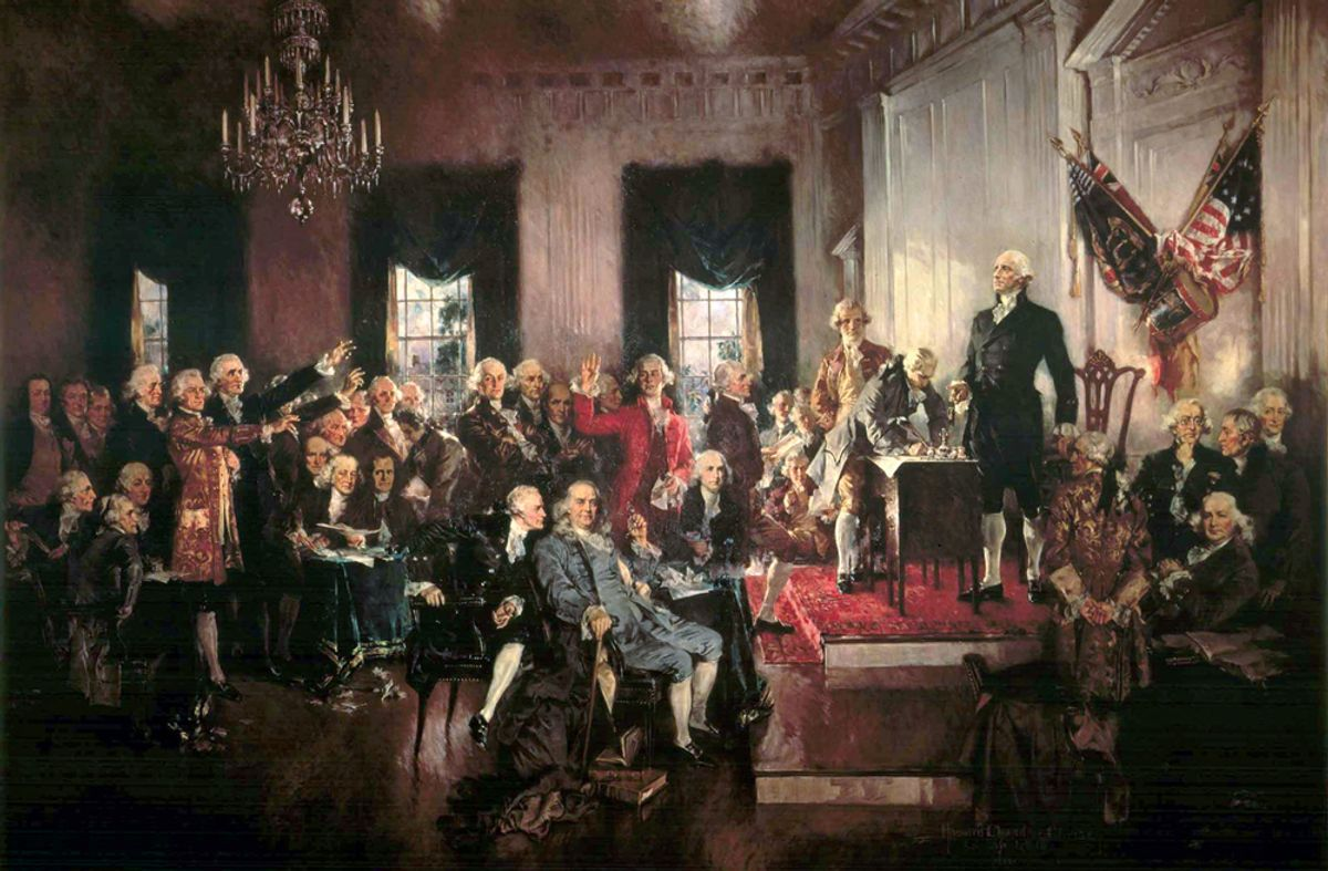 George Washington is the figure standing on the dais. The central figures of the portrait are Alexander Hamilton, Benjamin Franklin and James Madison. Painting by Howard Chandler Christy (1873-1952).