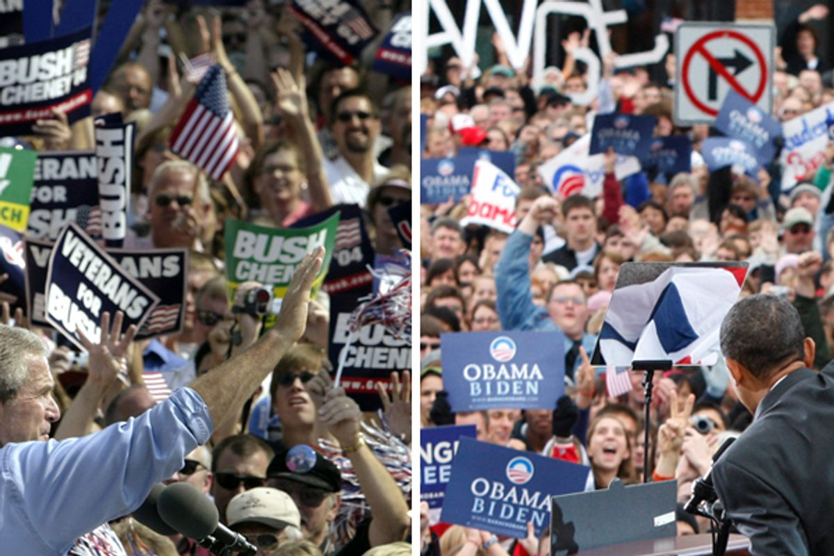 """U.S. President George W. Bush is cheered by supporters at a """"Victory 2004"""" election rally in Holland, Michigan, September 13, 2004. Bush is campaigning on a bus tour throughout Michigan before heading to Colorado later in the day. REUTERS/Jason Reed US ELECTION  JIR  (© Reuters Photographer / Reuters)"""