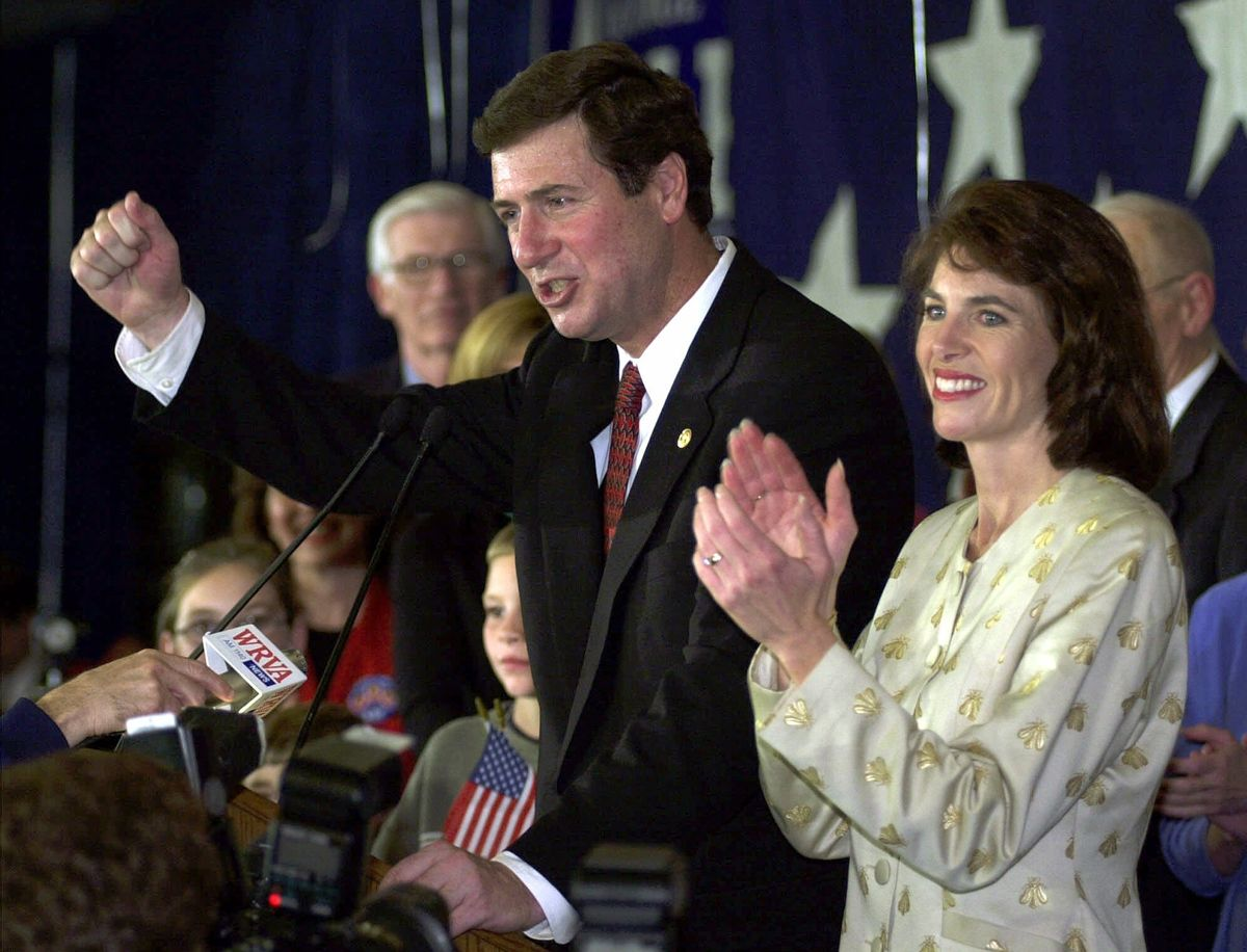 Senate candidate George Allen reacts to the cheers of the victory party along with his wife, Susan, in Richmond, Va., Tuesday, Nov. 7, 2000.
