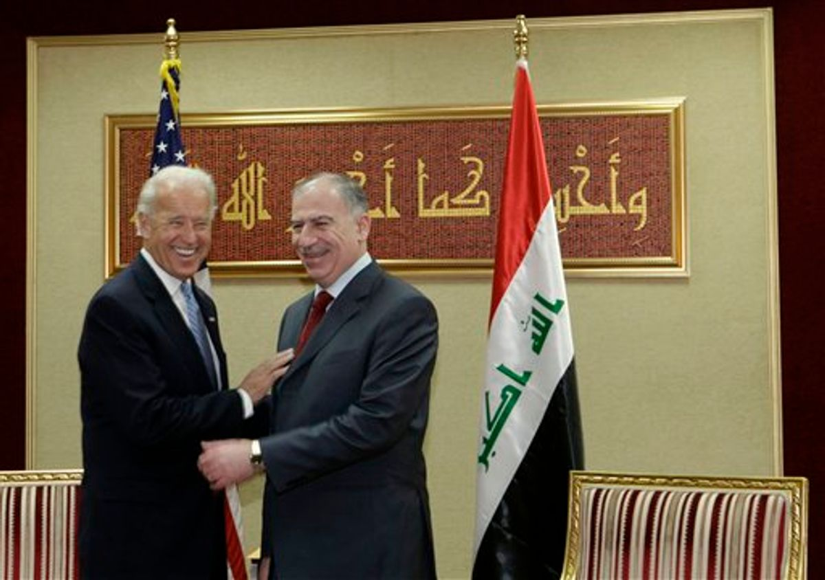 U.S. Vice President Joe Biden, left, shares a light moment with Iraq's Parliament Speaker Osama al-Nujaifi, right, in Baghdad, Iraq, Thursday, Jan. 13, 2011. Vice President Joe Biden arrived in Iraq early Thursday for talks with the new government's leaders about the future of American troops in the country as they prepare to leave at year's end. (AP Photo/Maya Alleruzzo) (AP)