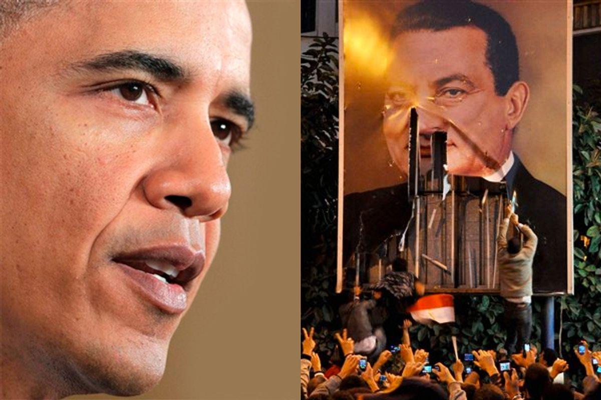 Left: President Barack Obama. Right: Demonstrators deface a poster of  Egyptian President Hosni Mubarak in Alexandria Egypt, Tuesday Jan. 25, 2011.