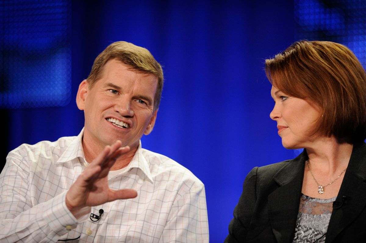 """Ted Haggard (L) and his wife Gayle answer questions during the HBO panel for the documentary """"The Trials of Ted Haggard"""" at the Television Critics Association winter press tour in Los Angeles January 9, 2009. Haggard, the powerful U.S. evangelist who fell from grace in 2006 amid a gay sex scandal, returned to the spotlight on Friday saying his faith was stronger but he wished people had been more forgiving.  REUTERS/Phil McCarten (UNITED STATES) (© Phil Mccarten / Reuters)"""