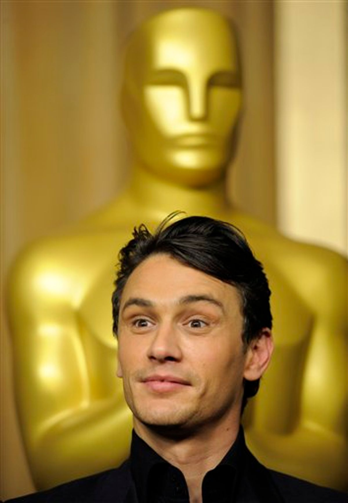 """James Franco, an Oscar nominee for Actor in a Leading Role for """"127 Hours,"""" as well as co-host of the 83rd Academy Awards, arrives at the 30th Academy Awards Nominees Luncheon in Beverly Hills, Calif., Monday, Feb. 7, 2011. (AP Photo/Chris Pizzello)  (AP)"""