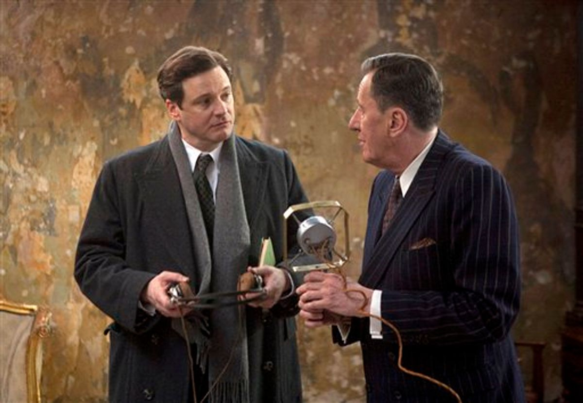 """In this film publicity image released by The Weinstein Company, Collin Firth, left, and Geoffrey Rush are shown in a scene from, """"The King's Speech."""" The film was nominated for 12 Academy Awards, Tuesday, Jan. 25, 2011, including best picture, best director, best supporting actress, Firth for best actor and Rush for best supporting actor. The Oscars will be presented Feb. 27 at the Kodak Theatre in Hollywood. (AP Photo/The Weinstein Company, Laurie Sparham) (AP)"""