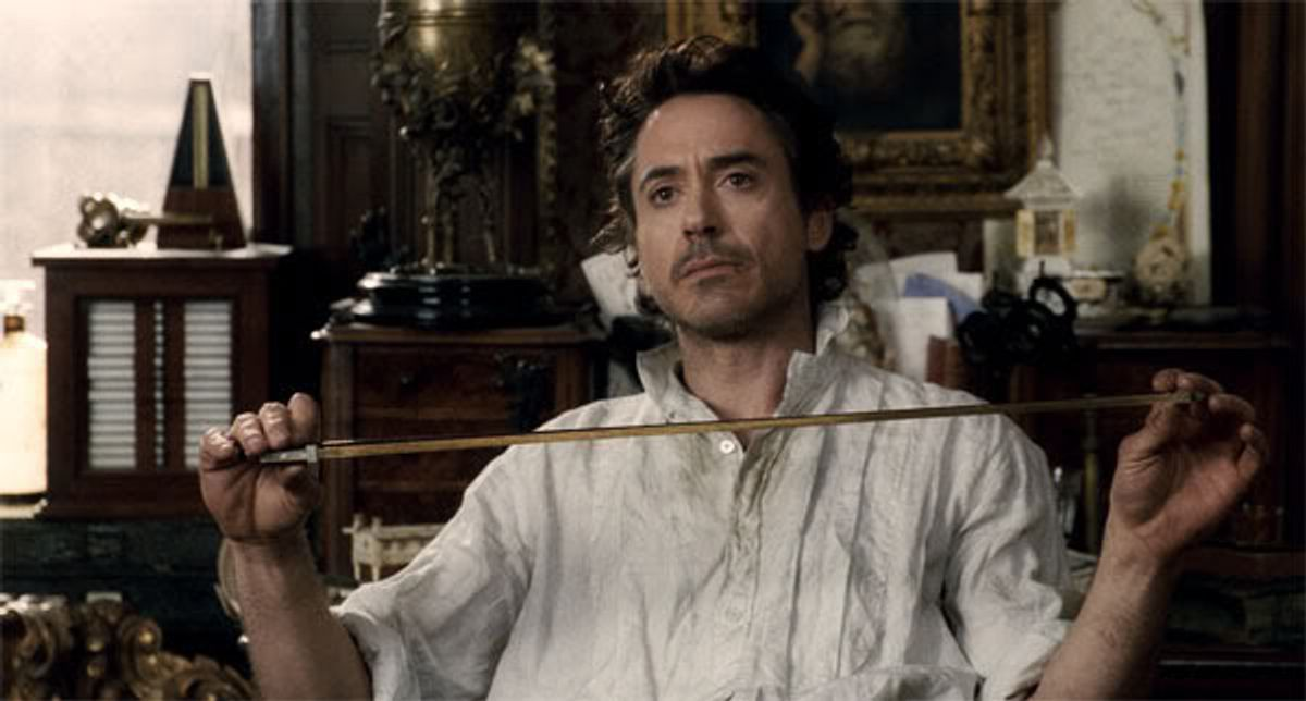 """SHH-FP-007 ROBERT DOWNEY JR. as Sherlock Holmes in Warner Bros. Pictures' and Village Roadshow Pictures' action-adventure mystery """"Sherlock Holmes,"""" distributed by Warner Bros. Pictures. (Courtesy Warner Bros. Pictures)"""
