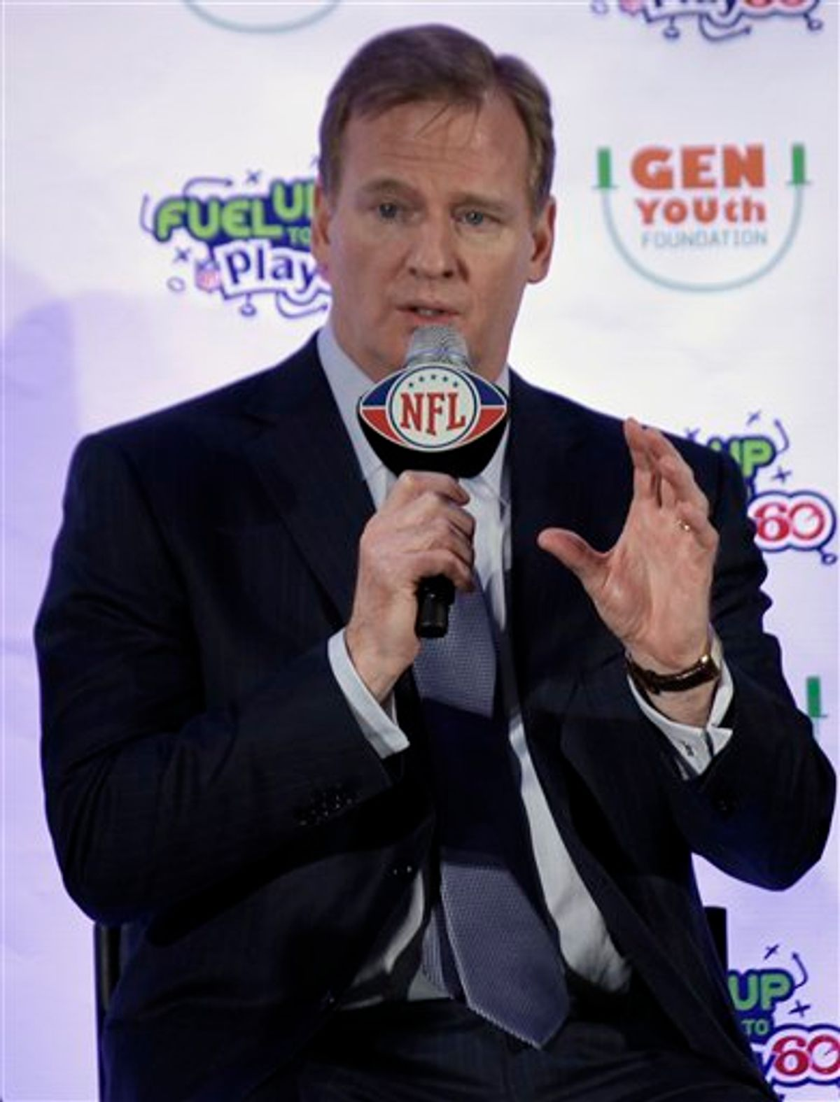 NFL Commissioner Roger Goodell answers a question about falling ice at Cowboys Stadium while taking part in a news conference to launch the Gen YOUth Foundation at the NFL football Super Bowl XLV Media Center in Dallas, Friday, Feb. 4, 2011. The Green Bay Packers and Pittsburgh Steelers will face each other in Super Bowl XLV Sunday. (AP Photo/David J. Phillip)    (AP)