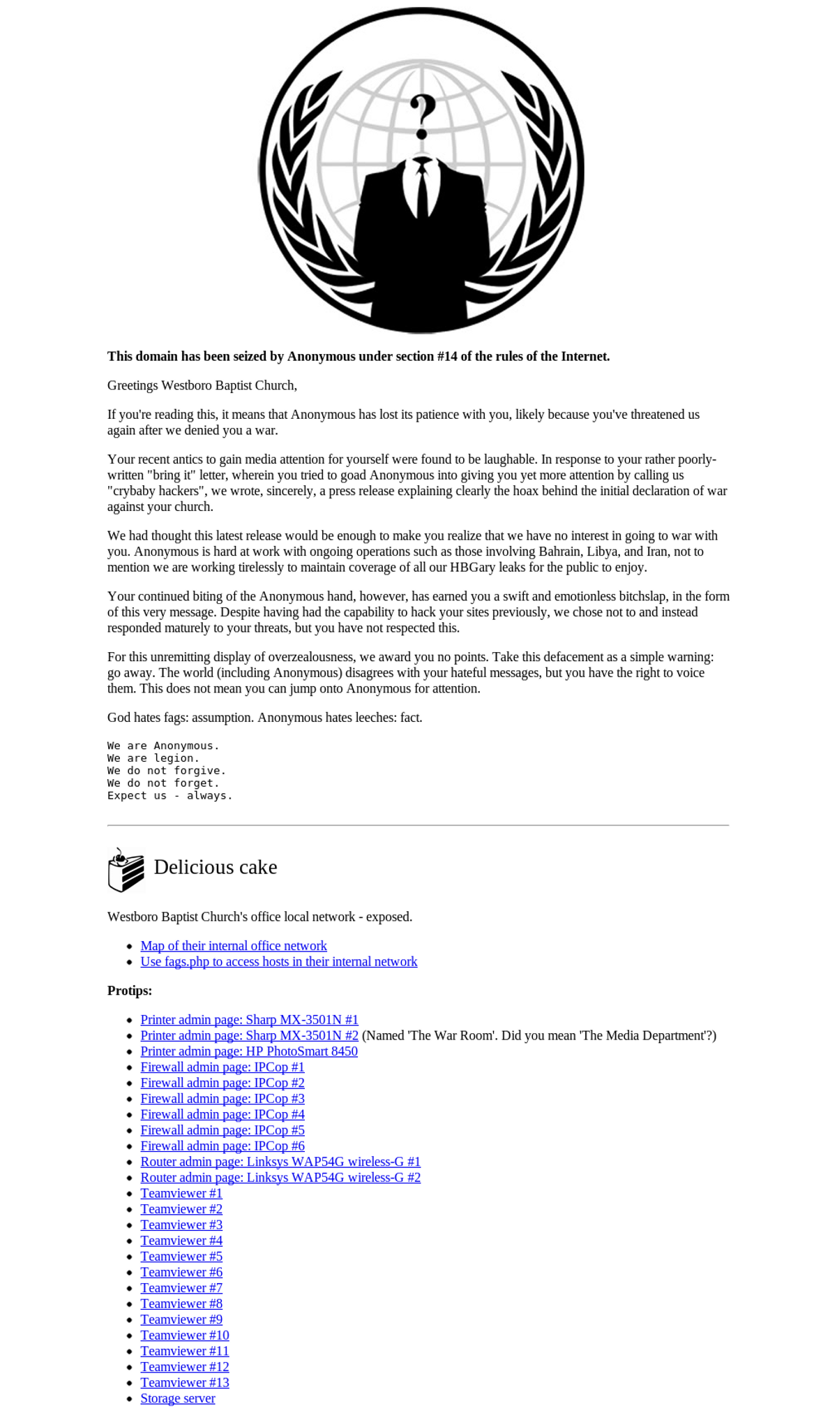 A warning notice issued by Anonymous to the Westboro Baptist Church