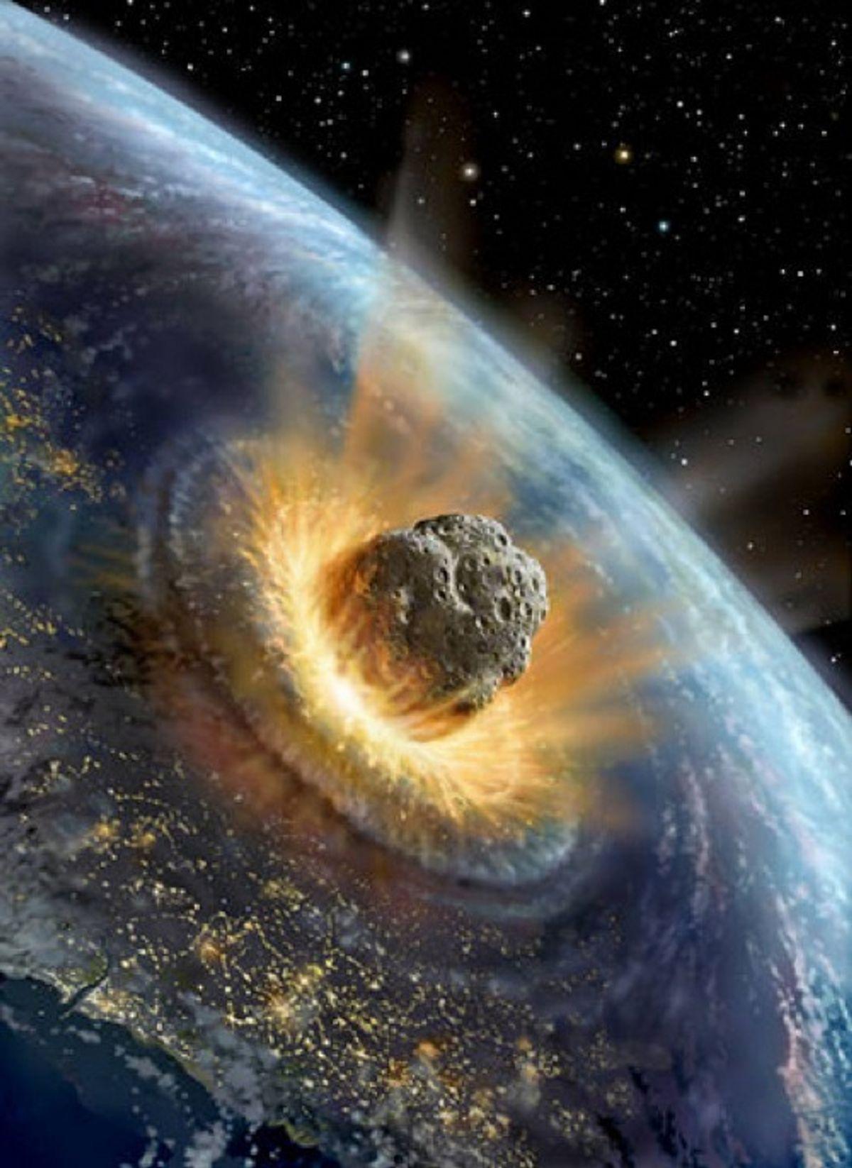 Dramatization of Apophis asteroid striking Earth