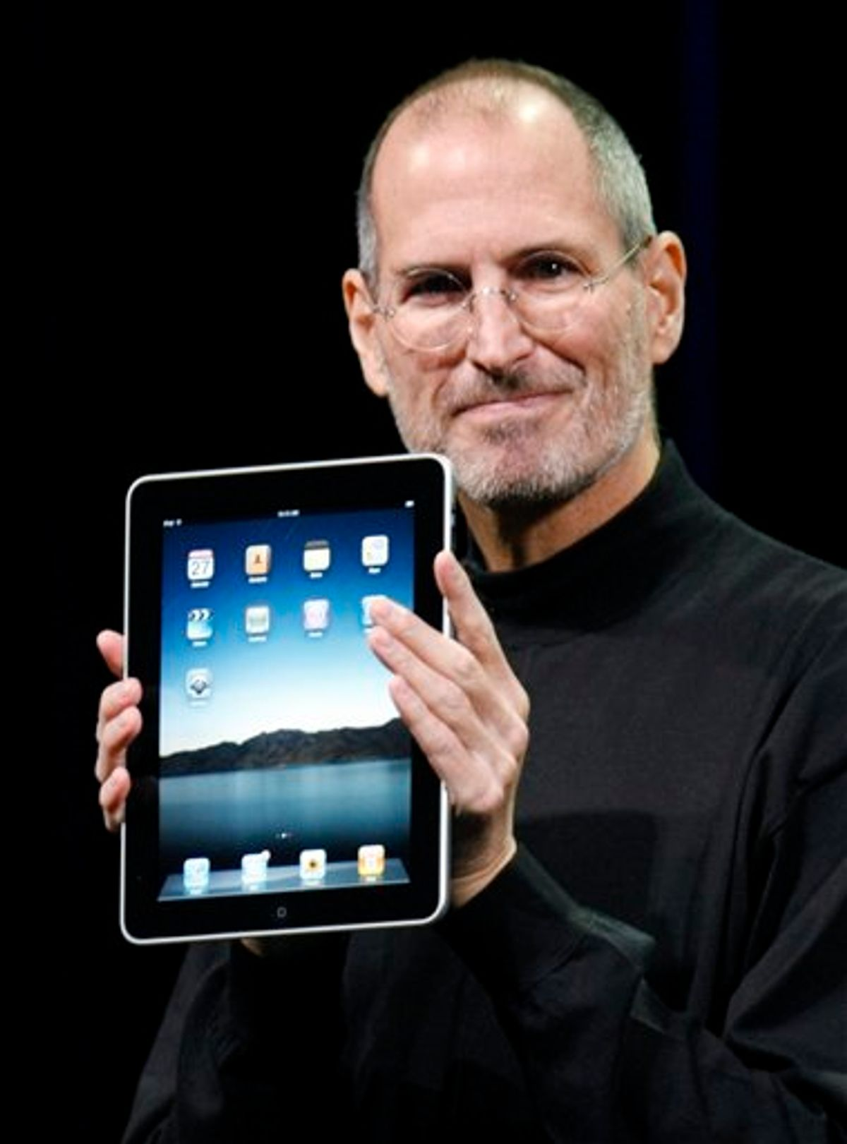 FILE - A Jan. 27, 2010 file photo shows Apple CEO Steve Jobs holding up the new iPad during a product announcement in San Francisco. Jobs sent a note Monday, Jan. 17, 2011 to employees saying he's taking a medical leave of absence so he can focus on his health. He says he will continue as CEO and be involved in major decisions but has asked Tim Cook to be responsible for all day-to-day operations. (AP Photo/Paul Sakuma, File) (AP)
